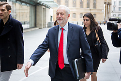 © Licensed to London News Pictures. 23/04/2017. London, UK. Leader of the Labour Party Jeremy Corbyn (centre) arriving at BBC Broadcasting House to appear on The Andrew Marr Show this morning. Photo credit : Tom Nicholson/LNP