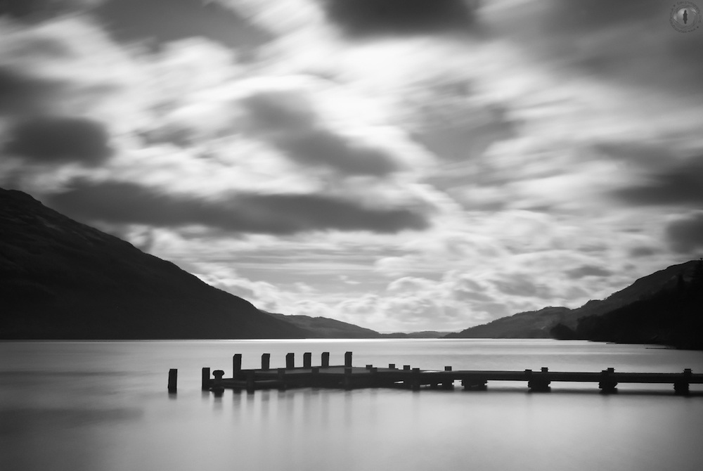 Infrared image of Loch Lomond, taken with a filter over a regular dSLR with a very slow shutter speed.