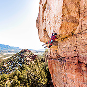 Robert Seal on Catitude, 5.11+, at The Zoo at Shelf Road in Colorado.