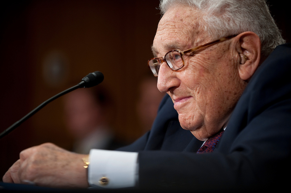 """May 25, 2010 - Washington, District of Columbia, U.S., - Former Secretary of State Henry Kissinger testifies before the Senate Foreign Relations Committee on """"The Role of Strategic Arms Control in a Post-Cold War World,"""" focusing the U.S.-Russia Strategic Arms Reduction Treaty..(Credit Image: © Pete Marovich/ZUMA Press)"""