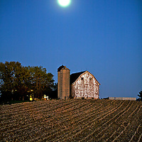 A collection of Barns that still can be seen while traveling the countryside in  the beautiful State of Wisconsin.<br /> Dane County- Barn and full moon on Hwy M near Gov. Nelson State Park. .