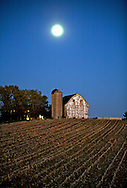 A collection of Barns that still can be seen while traveling the countryside in  the beautiful State of Wisconsin.<br /> Dane County- Barn and full moon on Hwy M near Gov. Nelson State Park. . Barns from around the State of Wisconsin.