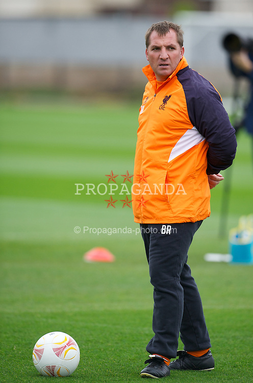 LIVERPOOL, ENGLAND - Wednesday, October 24, 2012: Liverpool's manager Brendan Rodgers during a training session at Melwood Training Ground ahead of the UEFA Europa League Group A match against FC Anji Makhachkala. (Pic by David Rawcliffe/Propaganda)
