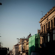 Ermou st, one of Athens' famous streets still lined with neo classical buildings.  There is some progress being made to bring them back to life as they were sixty years ago. Image © Angelos Giotopoulos/Falcon Photo Agency