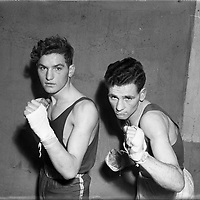 On right is S Bateman (Kilkenny) at National Junior Boxing Championships - Welterweight runner up.18/12/1952