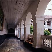 Interior courtyard of the cathedral in Banos, Ecuador.