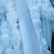 Thick ice forms along the sides of Horsetail Falls, a 176-foot (54-meter) tall waterfall located in Oregon's Columbia River Gorge.
