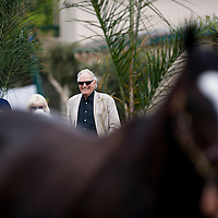 Owner Jerry Moss watches Zenyatta at Del Mar, Del Mar Calif. August 7, 2010<br /> <br /> Please Credit Alex Evers/ Equisport Photos