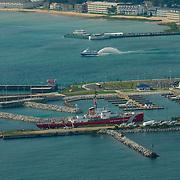 Aerial views of the Mackinaw Straits, Mackinaw City, Bridge,<br /> and St. Ignace tourist destinations.