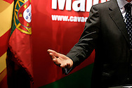 Cavaco Silva gestures while making a speech.