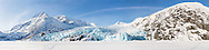 Composite panorama of Portage Glacier and Portage Lake in Chugach National Forest in Southcentral Alaska. Morning. Spring.