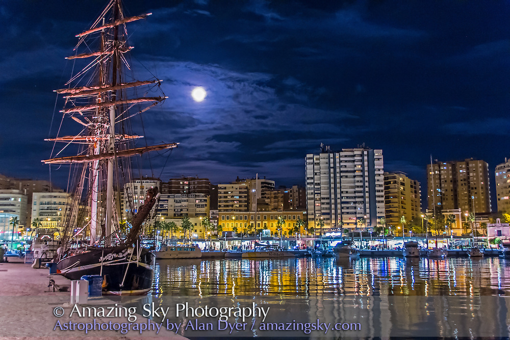 The Full Moon of October 18, 2013, on the night of a partial penumbral eclipse of the Moon, seen rising over the harbour at Malaga, Spain. I took this on the eve of our sailing on the Star Flyer (not this sailing ship) across the Atlantic to see the eclipse of the Sun Nov 3, 2013.