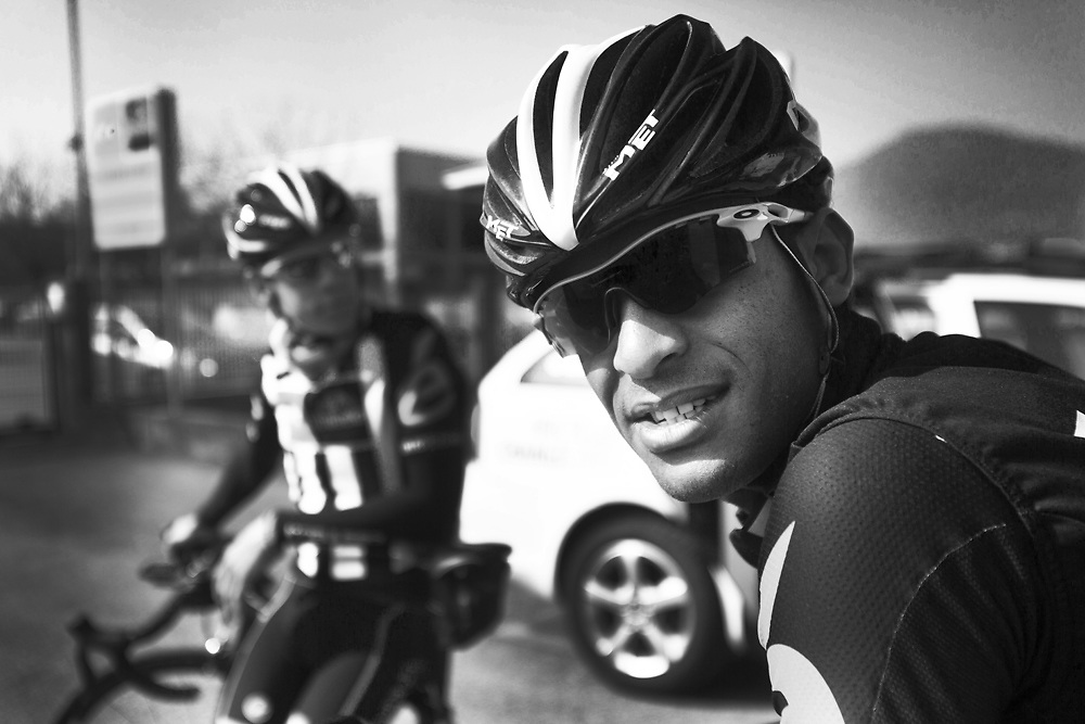 """Natnael Berthane (Erythee), Louis Meintjes (Afrique du Sud). MTN Team Qhubeka the first African cycling team to compete in the Tour de France 2015 - Team MTN-Qhubeka was founded in 2007, steadily working its way up from a regional team to now being a Continental Pro Team with bases in south Africa and Italy. MTN-Qhubeka p/b Samsung's goal is to give talented African riders a path into the propeloton, while raising funds for the Qhubeka Charity. Qhubeka is an Nguni(Zulu, Xhosa) word that means """"to carry on"""", """"to progress"""",""""to move forward"""".Qhubeka helps people move forward and progress by giving bicycles in return for work done to improve communities the environment or academic results."""
