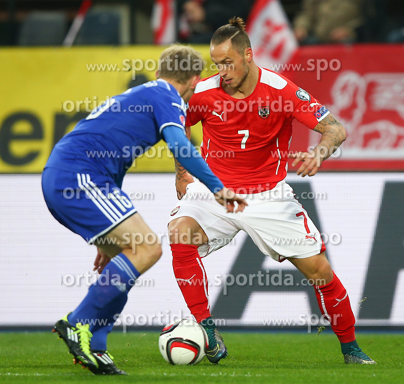 12.10.2015, Ernst Happel Stadion, Wien, AUT, UEFA Euro 2016 Qualifikation, Oesterreich vs Liechtenstein, Gruppe G, im Bild Martin Rechsteiner (LIE) und Marko Arnautovic (AUT) // during the UEFA EURO 2016 qualifier group G between Austria and Liechtenstein at the Ernst Happel Stadion, Vienna, Austria on 2015/10/12. EXPA Pictures © 2015, PhotoCredit: EXPA/ Thomas Haumer