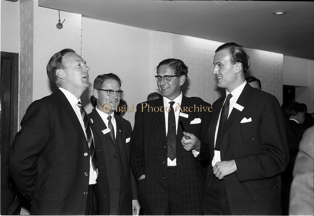 05/06/1964<br /> 06/05/1964<br /> 05 June 1964<br /> Clothing Institute Conference at Jury's Hotel, Dublin. Picture shows (l-r): Mr. D.A. Fynn, Wetherdair N.I. Ltd.; Mr. M.R. Cassidy (Director and Secretary, Kilmaine Clothes Ltd. (presented a paper on &quot;Costs and Results&quot;); Mr. J.V. Hill, Director, Clarence Clothing Co. Ltd. and Mr. J.C. Templeton, Mourne Clothing Co., during a break in proceedings.