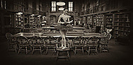 Classic ballerina at the Sterling Library on Yale campus  Classic ballerina reading a book at the Sterling Library. Yale University.