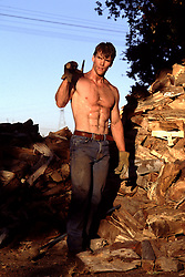 hot man with an axe standing by a pile of wood