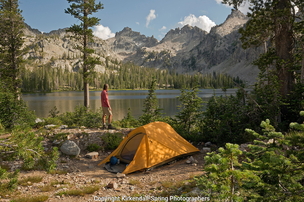 ID00431-00...IDAHO - Campsite at Alice Lake in the Sawtooth Wilderness Area.