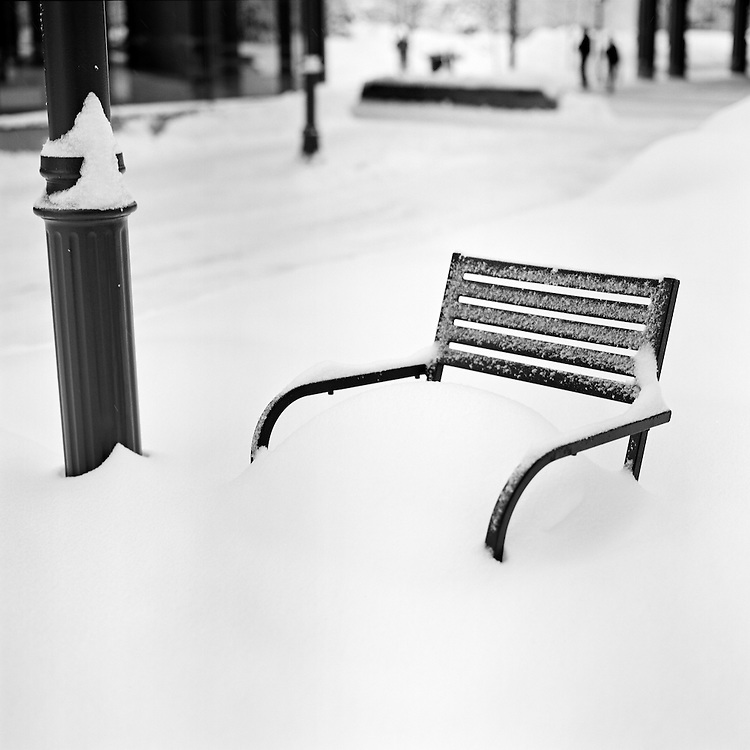 ANCHORAGE, ALASKA - 2007: Chair Covered in Snow.