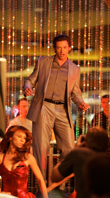 March 13, 2007 Palm Springs, CA. Hugh Jackman entertained tourist as he performed a song and dance routine  for the TV Pilot Viva Laughlin which filmed at a real casino opened to the public. EXCLUSIVE Photo By Eric Ford TEL: (818) 613-3955  Email: info@onlocationnews.com