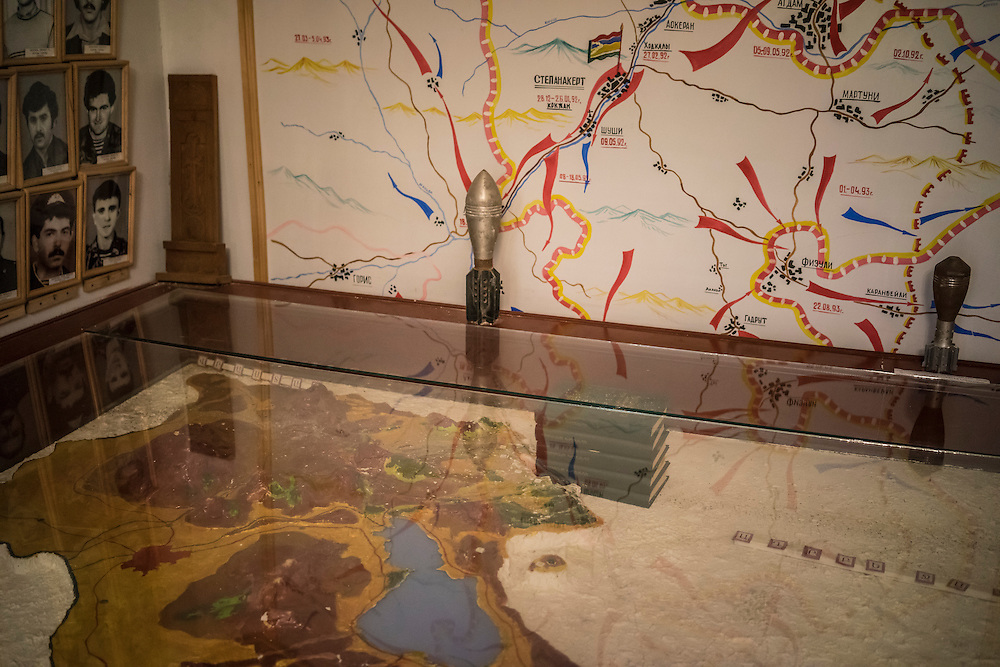 STEPANAKERT, NAGORNO-KARABAKH - APRIL 22: Maps and displays at the Nagorno-Karabakh Republic Memorial Museum of the Perished Soldiers, which is dedicated to fighters killed in the war with Azerbaijan, on April 22, 2015 in Stepanakert, Nagorno-Karabakh. Since signing a ceasefire in a war with Azerbaijan in 1994, Nagorno-Karabakh, officially part of Azerbaijan, has functioned as a self-declared independent republic and de facto part of Armenia, with hostilities along the line of contact between Nagorno-Karabakh and Azerbaijan occasionally flaring up and causing casualties. (Photo by Brendan Hoffman/Getty Images) *** Local Caption ***