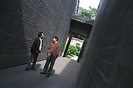 Zhang Zhe (left), Chinese writer, with acclaimed Chinese poet Ye Yanbing, at the Chen Clan Academy in Guangzhou as part of the Think UK Writers Train project. The Think UK China Writers Train is a project, in collaboration with the British Council, to take 4 UK writers/poets and 4 Chinese writers/poets around China by train visiting 6 major cities, in 17 days, to hold talks, seminars and readings of their work.