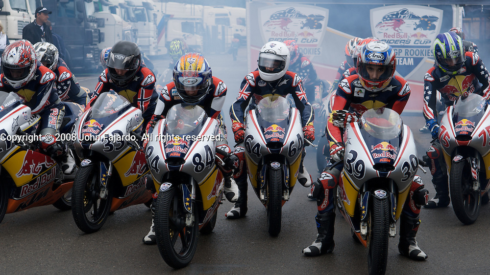 Red Bull Rookies Cup riders prepare to take the track at Circuito Ricardo Tormo, Cheste Spain, Friday Oct. 24, 2008.