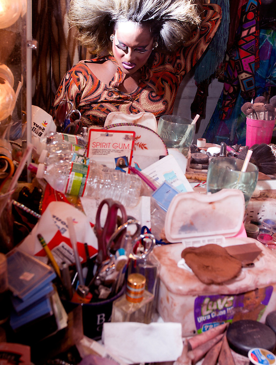 Drag Queen Mizery inside her dressing room at backstage for a show at Jacques Cabaret in Bay Village neighborhood of Boston, MA USA on April 15, 2012.<br /> Jacques Cabaret (EST: 1931) is the oldest drag queen live cabaret in Boston, MA USA.