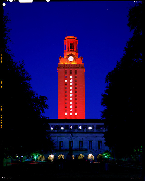 The Texas Tower, Bathed In Orange