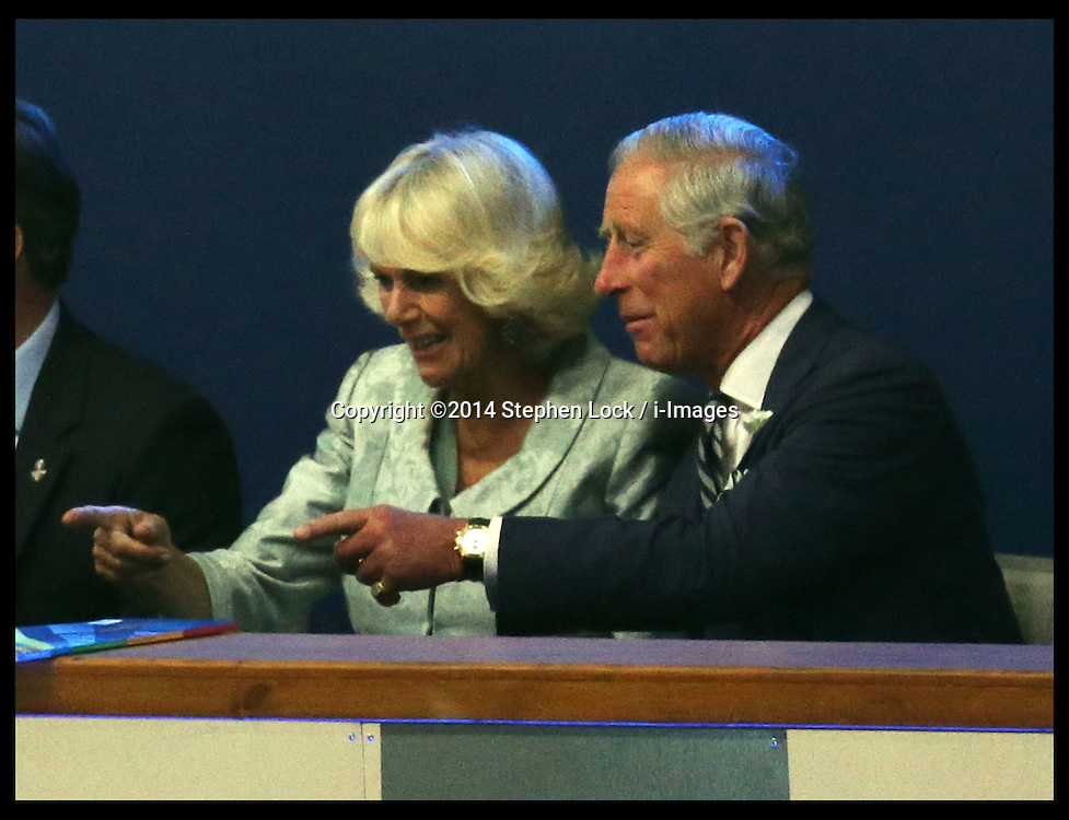 Image licensed to i-Images Picture Agency. 23/07/2014. Glasgow, United Kingdom. Prince of Wales and Duchess of Cornwall  watching the  opening  ceremony of the Commonwealth Games in Glasgow. Picture by Stephen Lock / i-Images