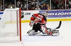 April 28, 2007; East Rutherford, NJ, USA; New Jersey Devils goalie Martin Brodeur (30) makes a save during the second period of game two of the 2007 NHL Eastern Conference semi-finals at Continental Airlines Arena in East Rutherford, NJ.