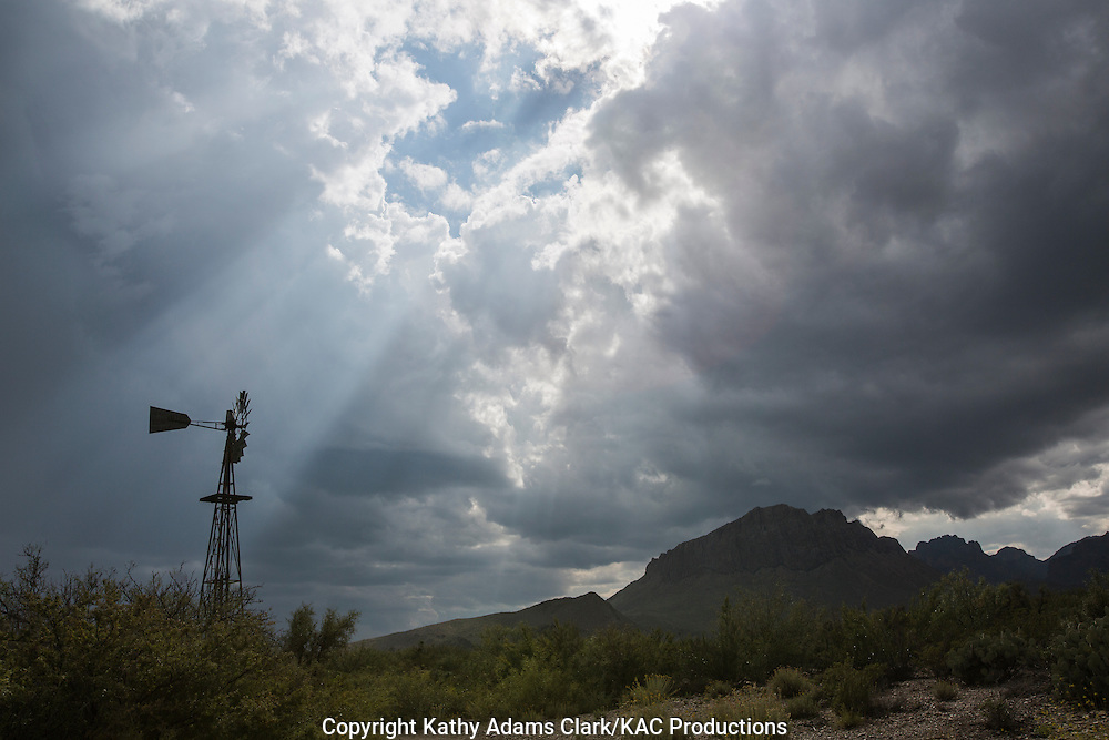Storm clouds at Dugout Wells in Big Bend National Park, Texas in late summer.