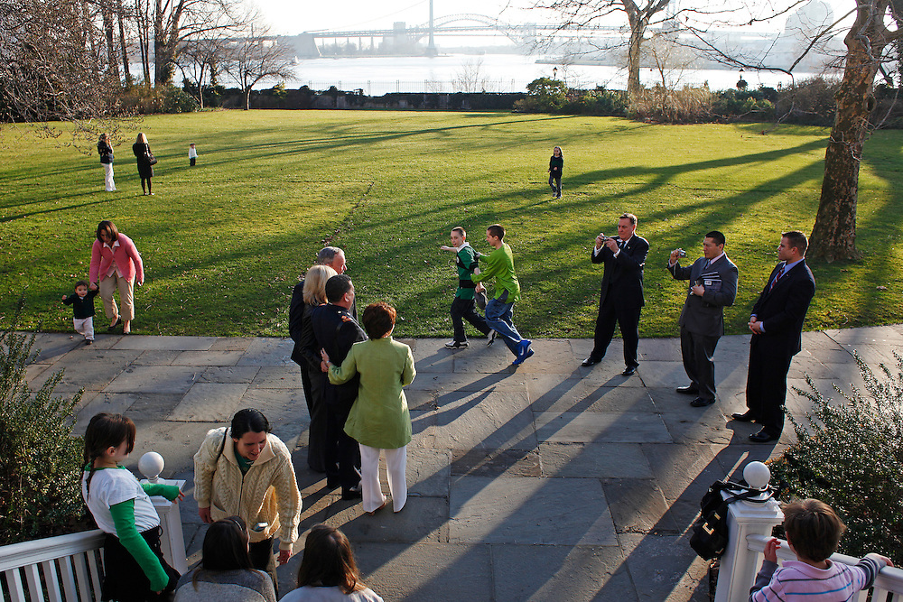 The backyard at the Gracie Mansion.