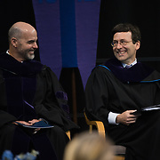 Washington State Attorney GeneralRobert Ferguson(right) delivered the keynote address at the Law School Commencement. (Gonzaga photo)