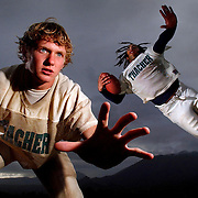 Conner Schryver, left, and Gabe Yette are running backs for Thacher High in the school's third year playing 8-man football. Typically, when one runs the ball, the other blocks for him. 'There is great harmony between the two of them, and they want to see each other succeed,' says head coach Jeff Hooper.<br /> <br /> Photographed for the Ventura County Star