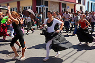 Dancers in a parade during Romerias de Mayo in Holguin, Cuba.