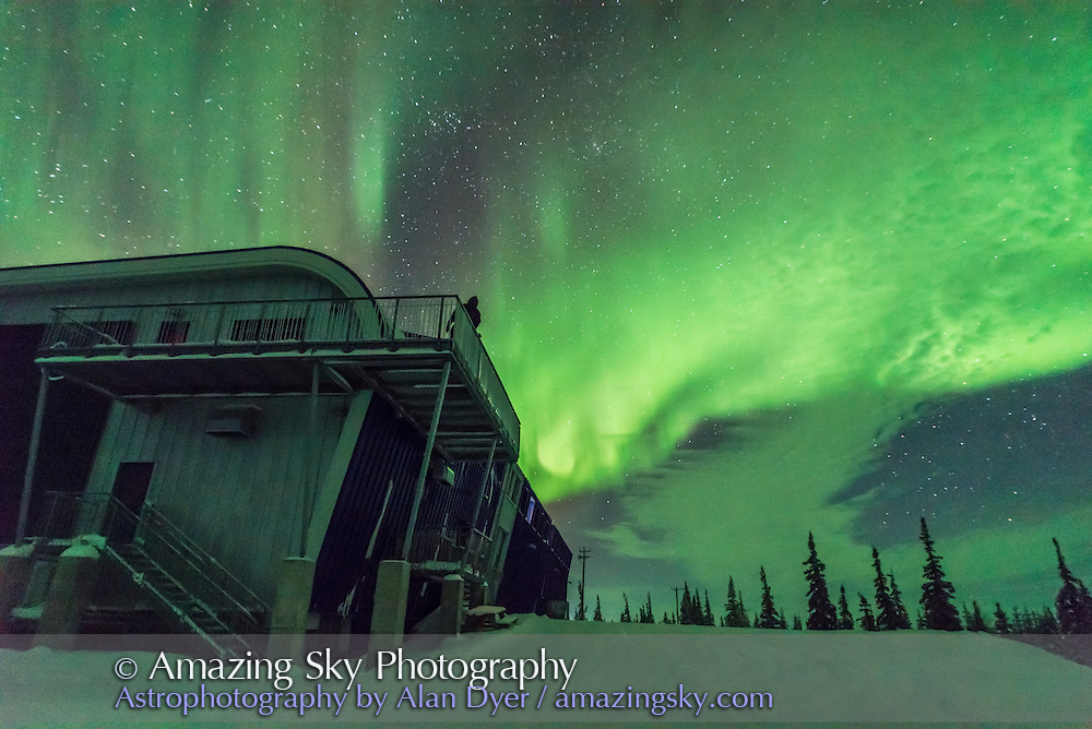 A modest aurora over the Churchill Northern Studies Centre, Churchill, Manitoba, on January 29, 2017. This is one frame from 300 taken as part of a rapid-cadence time-lapse sequence. A 1-second exposure at ISO 3200 at f/1.4 with the Sigma 20mm Art lens.
