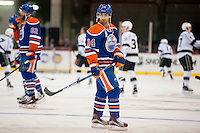 KELOWNA, CANADA - OCTOBER 2: Jordan Eberle #14 of the Edmonton Oilers warms up against Los Angeles Kings on October 2, 2016 at Kal Tire Place in Vernon, British Columbia, Canada.  (Photo by Marissa Baecker/Shoot the Breeze)  *** Local Caption *** Jordan Eberle;