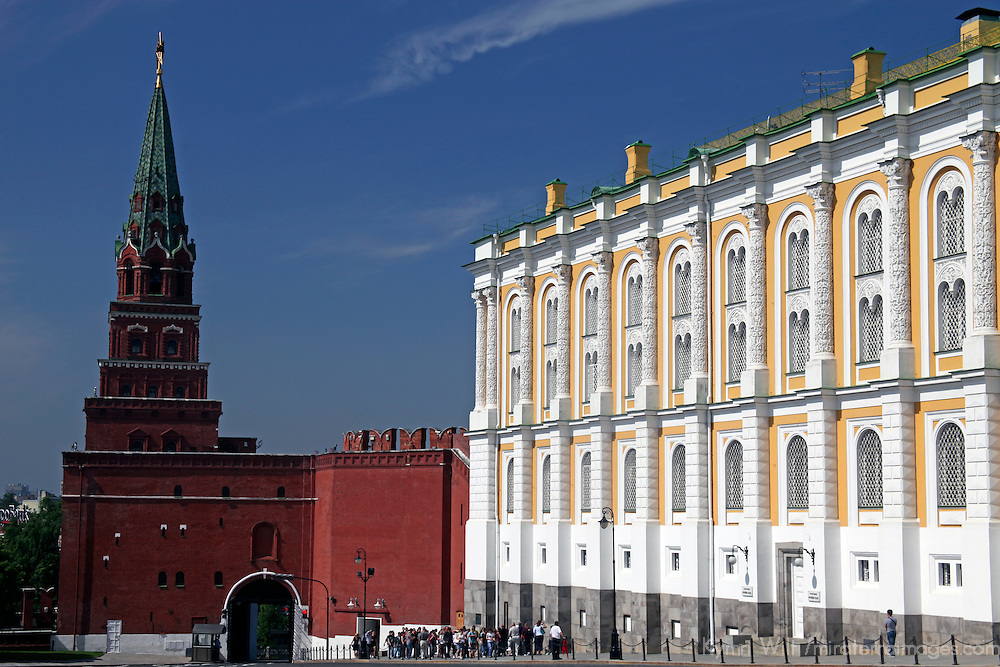 Europe, Russia, Moscow, Grand Kremlin Palace and Kremlin wall tower, a UNESCO World Heritage Site.