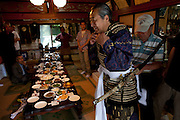 The chairman of the Soma Nomaoi festival Ushitaga Yasumitu while wearing his samurai armor in the morning of the festival day in Minami Soma