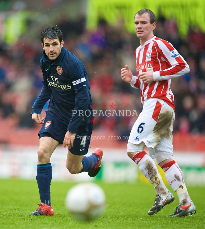 STOKE, ENGLAND - Sunday, January 24, 2010: Arsenal's Cesc Fabregas in action against Stoke City during the FA Cup 4th Round match at the Britannia Stadium. (Photo by David Rawcliffe/Propaganda)
