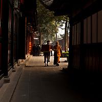 Monks at the Wen Shu Monastery in Chengdu, Sichuan, China