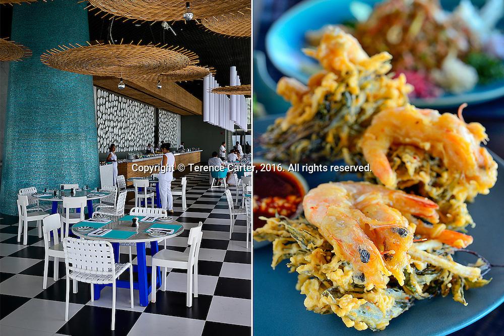 La Sirena restaurant, Point Yamu by COMO (L). Spiced shrimp with legkrut leaf pakora. Nahmyaa Thai restaurant (R). Point Yamu by COMO. Phuket, Thailand. Copyright 2016 Terence Carter / Grantourismo. All Rights Reserved.