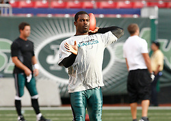 Sept 3, 2009; East Rutherford, NJ, USA;   Philadelphia Eagles quarterback Michael Vick (7) warms up before his preseason game against the New York Jets at Giants Stadium.