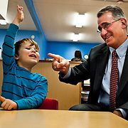 11/29/2012 - Somerville, Mass. - Tufts University President Anthony P. Monaco interacts with local preschool students during a Tufts Jumpstart session at the Open Center For Children on Thursday, November 29, 2012. (Alonso Nichols/Tufts University)