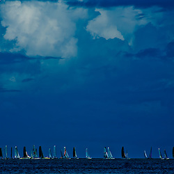 Sailboats awaiting a Caribbean storm, Eagle Beach, Aruba