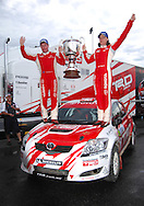 Neal Bates & Coral Taylor with Possum Bourne Memorial Trophy after winning the 2008 Australian Rally Championship.Motorsport-Rally/2008 Coffs Coast Rally.Heat 1.Coffs Harbour, NSW.15th of November 2008.(C) Joel Strickland Photographics