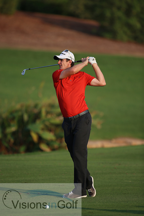 Justin Rose<br /> at the DP World Tour Championship, Jumeirah Golf Estates Earth, Dubai UAE 2012<br /> Picture Credit:  Mark Newcombe / www.visionsingolf.com