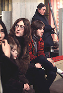 JOHN LENNON 1968 with Yoko Ono, ERIC CLAPTON and Julian Lennon at the Rolling Stones Rock & Roll Circus December 68 in London