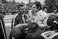 American Yardley Team McLaren Formula One driver Peter Revson, with seen here during practice for the 1972 United States Grand Prix, seemed to have positioned himself for F1 stardom by the fall of that year. <br /> <br /> He had surprised everyone with his pole position and 2nd place finish at the Indianapolis 500 in 1971, and went on to also capture that year's Can-Am Championship, both times driving for McLaren.<br /> <br /> He would go on to win the 1973 British and Canadian Grands Prix for McLaren, and finish 5th in the championship standings, but was replaced in 1974 by former World Champion Emerson Fittipaldi and new team sponsor Marlboro. He found a home with the  new UOP Shadow that season, but was killed in March during testing for the South African Grand Prix when the new Formula One car's front suspension failed.